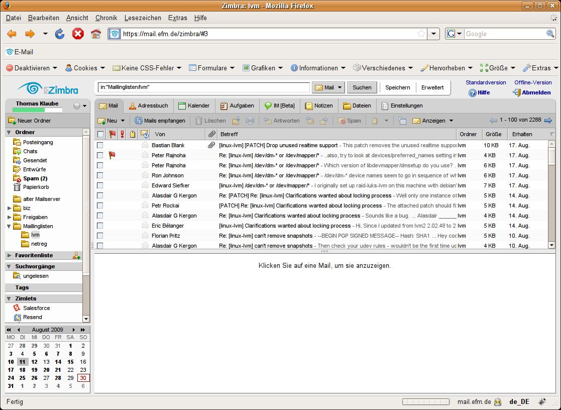 Email Reminder Zimlet - EFM Zimbra Hosting