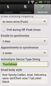 Touchdown Advanced Einstellungen