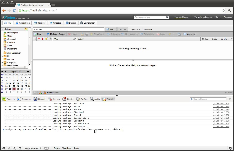 mailto: mit Chrome und Zimbra Webinterface